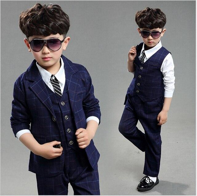 53f5d960a Niños traje de tres piezas para niños 4-12 años chicos trajes de marca para