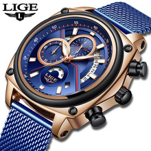 LIGE Mens Watches Brand De Luxe Stainless Steel Watch Men Business Casual Quartz Military Waterproof Montre Homme