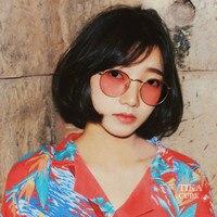 2018 de feijão Vermelho Moda Retro Mulheres Óculos de Sol Da Moda  Personalidade Rodada óculos de 5db0b49036