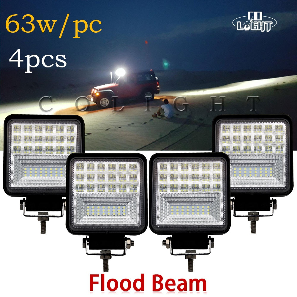 CO LIGHT 4.3 Inch 63W LED Work Light Flood LED Offroad Light Bar Auto Driving Worklight for Off road ATV Car Truck Lada 12V 24V brand new universal 40 w 6 inch 12 v led car work light daytime running lights combo light off road 4 x 4 truck light