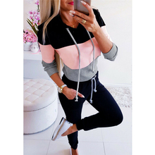 Autumn Winter Hoodie Sweatshirt Women Patchwork Long Sleeve Warm Hoodies Female Pullover Striped Casual Oversized