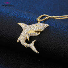 Men Hip Hop Jewelry Men HipHop Iced Out Shark Pendant Necklaces CZ AAA Crystal 100% Fashion Animal Shape Necklace