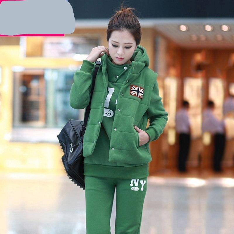 Livraison gratuite automne hiver mode Coréenne femmes de grande taille épaisse velet 3-pièces ensemble sportswear décontracté femmes vêtements ensemble CSWC006