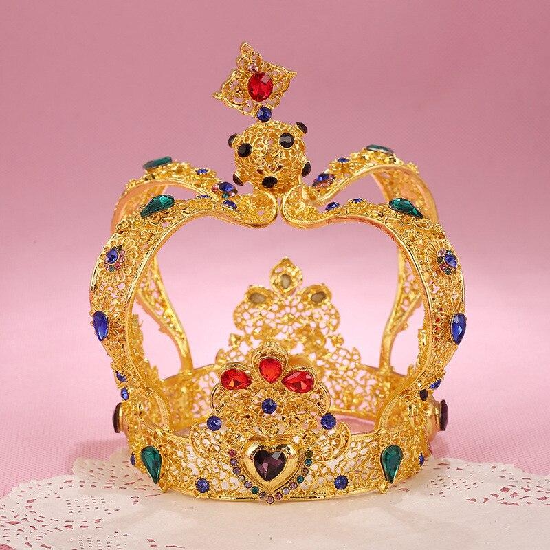 European Baroque Metal Crown Tiara for women/men wedding hair jewelry Royal Qeen King tiaras and crowns headpieces Bridal