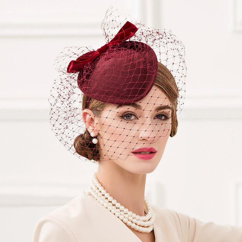 712e8c6b8857b FS vino rojo boda tocados sombreros para las mujeres elegante Formal ...