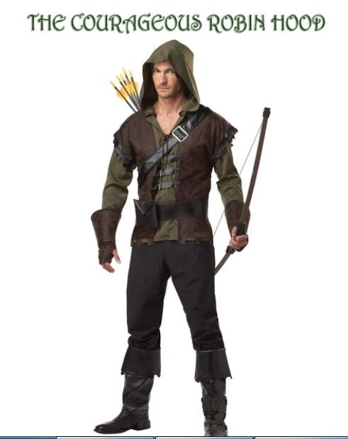 ADULT ROBIN HOOD COSTUME Hooded Archer Book Day Medieval Fancy Dress Outfit 3081