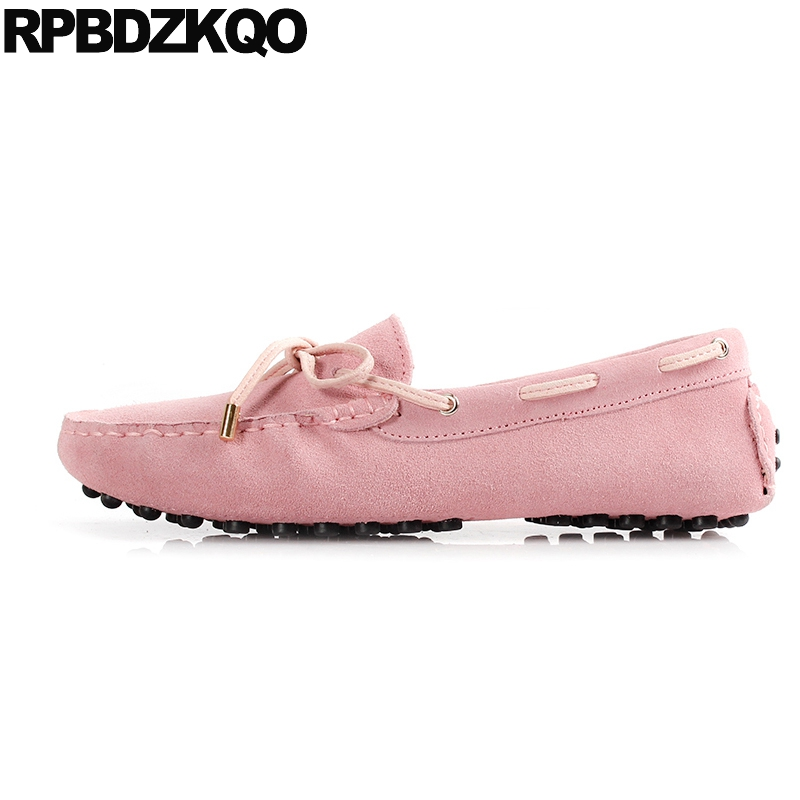 Women Moccasins Boat Flats Pink Ladies Beautiful Shoes Round Toe Slip On Lace Up Suede 2017 Knot Comfortable European Latest