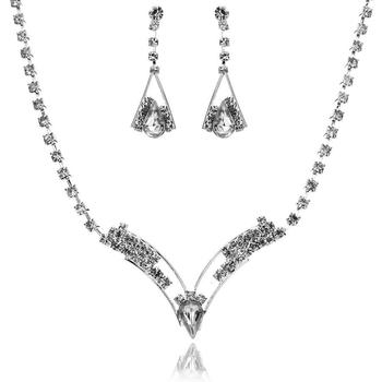 Sparkling V Shaped Rhinestone Australia Crystal Jewelry Set  3