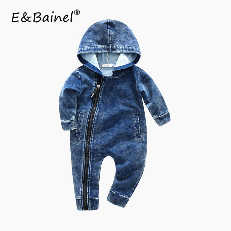 Fashion New Spring Newborn Baby Boys Long Sleeve Hooded Zipper Rompers Demin Cotton Baby Girl Clothing Jumpsuit Outfit Clothes