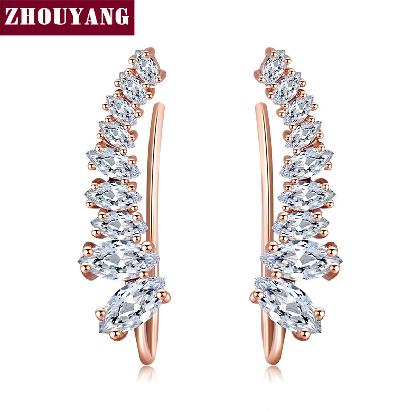 59b5343bb Top Quality 2015 New Four-Prong Setting 9pcs Cubic Zirconia Rose Gold Color Ear  Hook