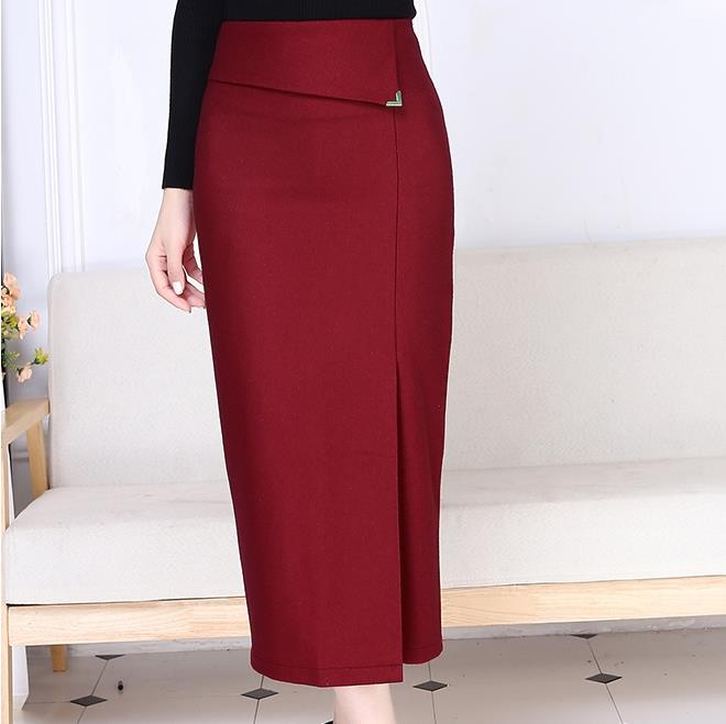 2018 Autumn winter Long Pencil Skirts Women Sexy high waist Slim Package Hip office Lady Wool ol skirt plus size 3XL