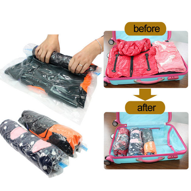 Vacuum Storage Rangement Bag Save E Bags Vac Saver Seal Compressed Clothes Wardrobe Travel