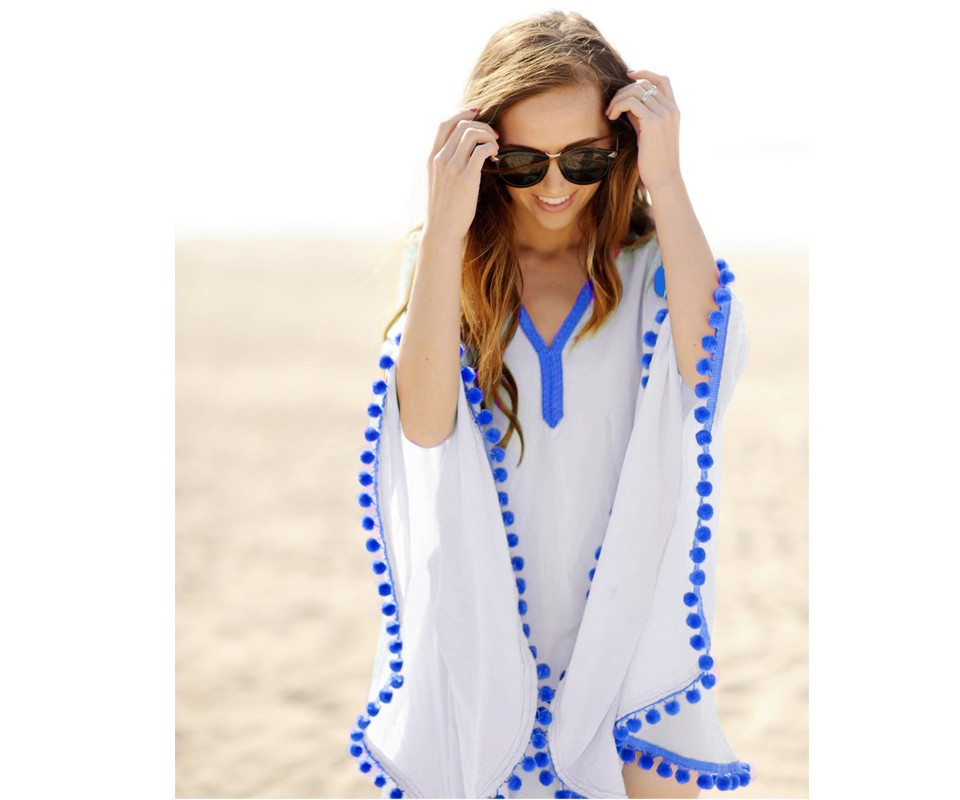 17 New Summer Women Pom Pom Trim Kaftan Beach Dress Lady Swimwear Bikini Cover-up Beach Tunic Wear for Girl 41150 8