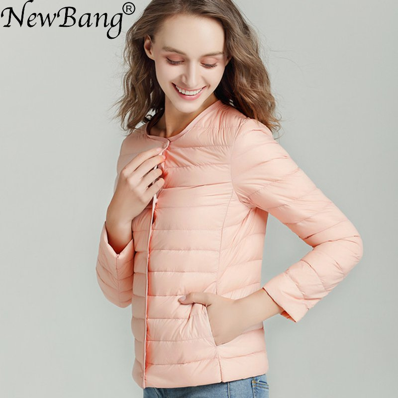 NewBang Matt Fabric Down Coat Female Ultra Light Down Jacket Women Thin Slim Windbreaker Without Collar Lightweight Warm Coat