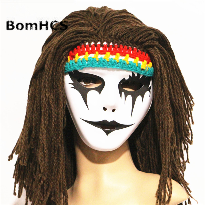 Bomhcs Funny Halloween Crazy Horror Mask + Wigs Beanie Handmade Knitted Winter Thick Hat Cap Party Gift