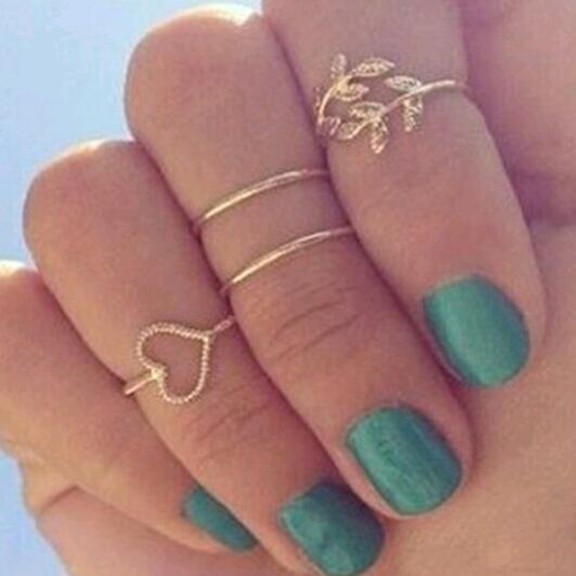 FAMSHIN 2015 New 4 Set Rings Urban Gold Crystal Plain Cute Above Knuckle Ring Band Midi Ring Set auger leaves 4 ring