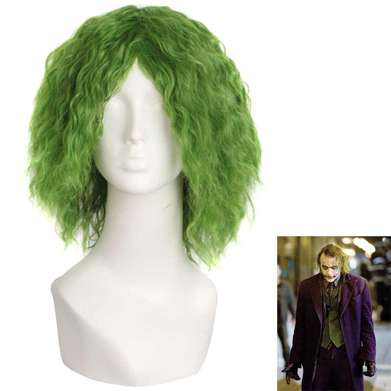Batman The Dark Knight Cosplay Movie Suicide Squad The Joker Curly Green Wig Jared Leto Wig Party Halloween Cosplay Costume Wig