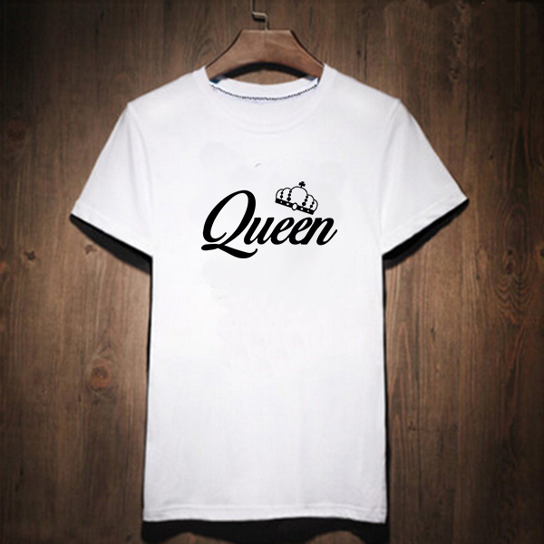Couple Lover T Shirt Whtie Birthday Gift King Queen Woman Tee Tops 2018 High Quality Tshirt Women