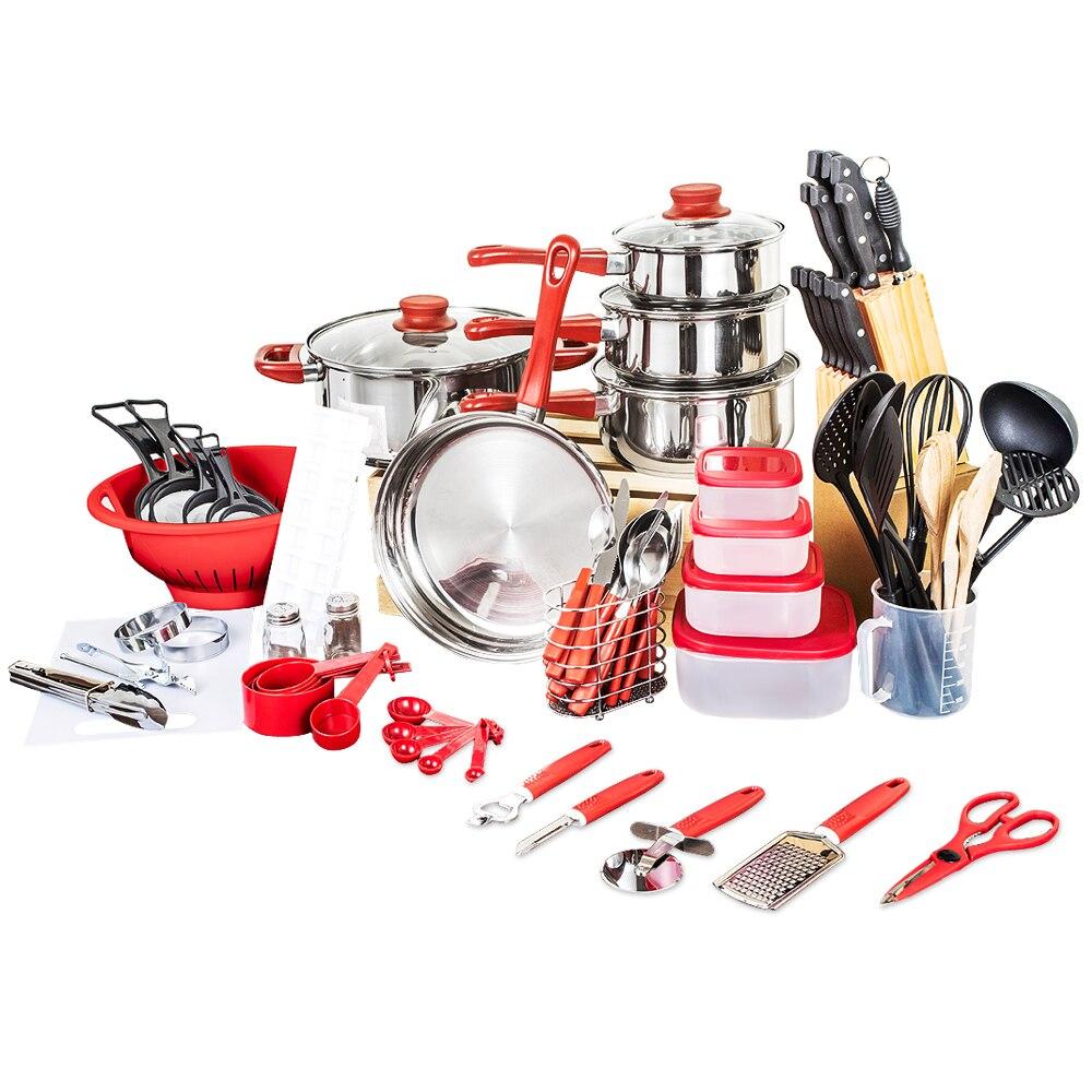 2018 Panelas де Ceramica поступление Fda Топ Мода Настоящее кухонная посуда пособия по кулинарии горшки и кастрюли набор 80 шт. кухня стартер комбо