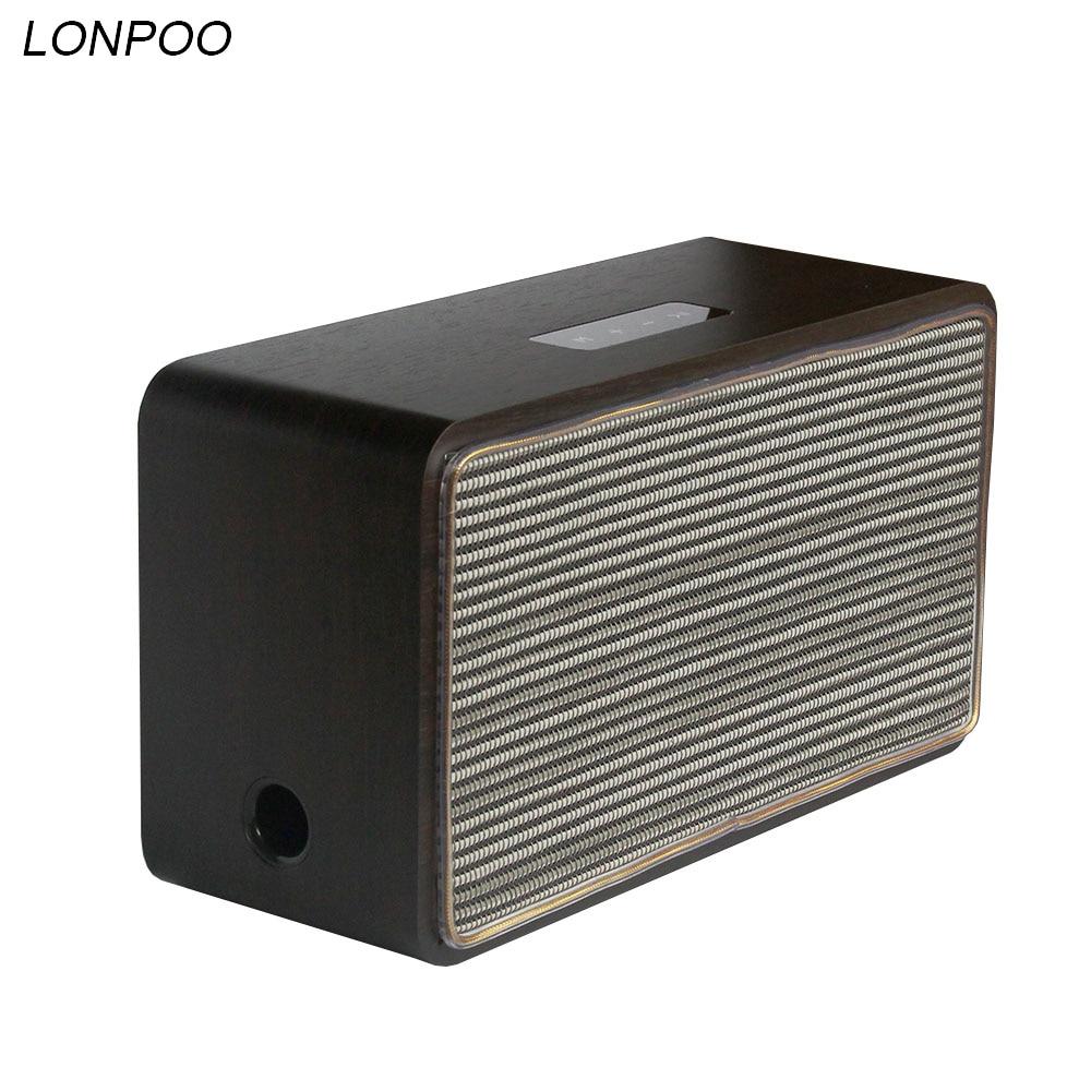 Le plus nouveau haut-parleur Bluetooth LONPOO sans fil en bois USB Support AUX haut-parleurs de cinéma maison pour téléphone/ipad (brun profond)