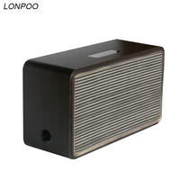Newest Bluetooth Speaker LONPOO Wireless Wooden USB Speaker Support AUX home theater speakers for phone /ipad (deep brown )
