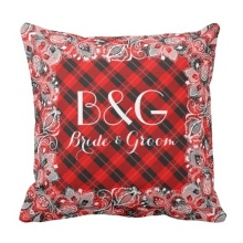 Fashion Cushions Red Black Tartan With White Lace Frame Throw Pillow Case (Size: 20″ by 20″) Free Shipping