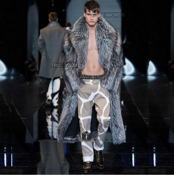 Warm faux silver fox fur coat mens leather jacket men long trench coat villus suit collar winter loose thermal england outerwear