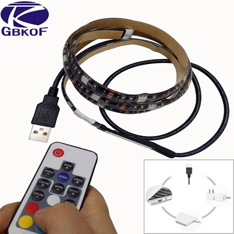 5V USB LED strip 5050 RGB flexible light 1M 2M IP65 Waterproof TV Background Lighting Strip with 17Key RF RGB Remote controller