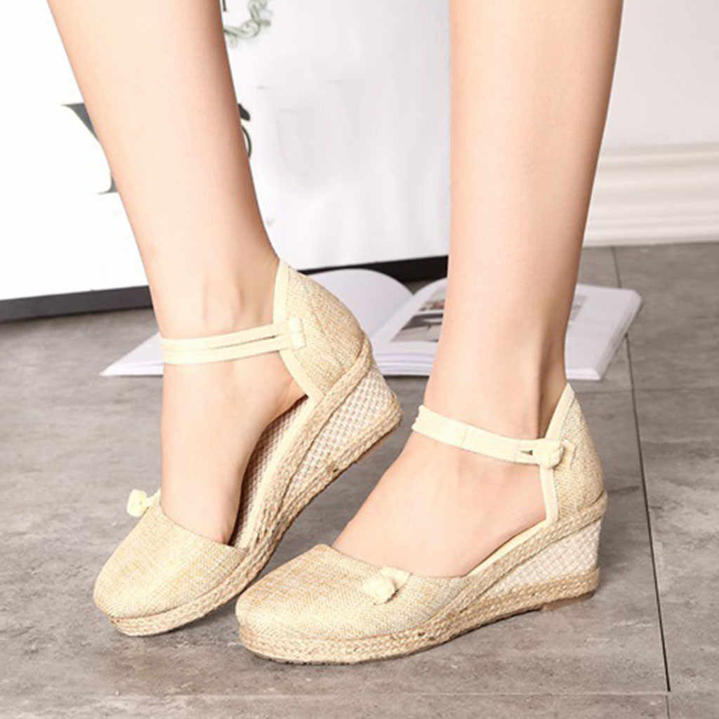 34cadae750cb ... YOUYEDIAN Women Ladies Retro Linen Canvas Wedge Round Toe Casual Sandals  Singles ladies shoes with heels ...