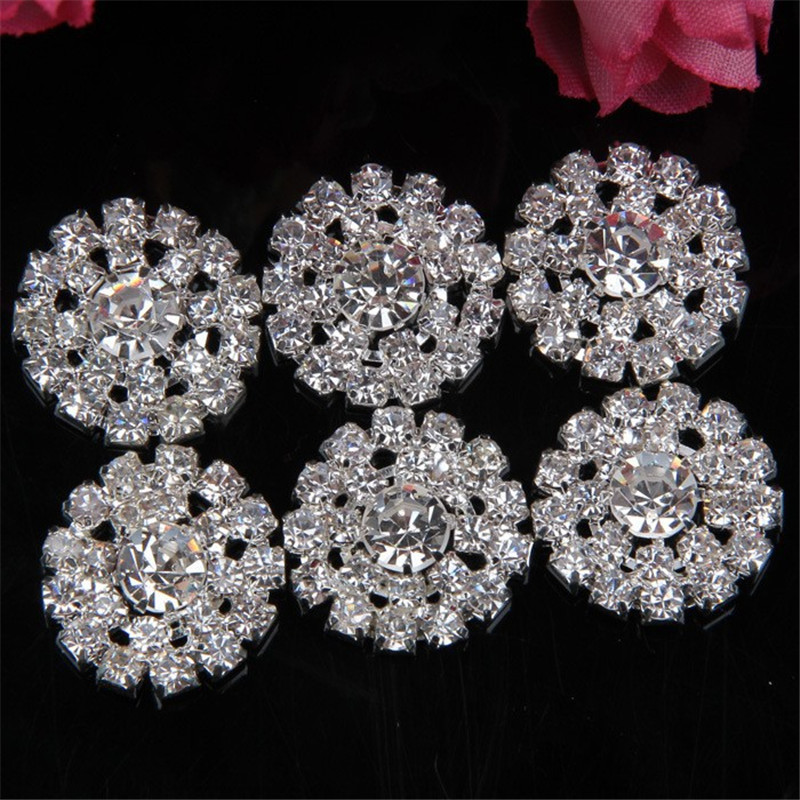 2016 New 20pcs lot Free shipping silver color 20mm flat rhinestone alloy  buttons diamante button For Hair Flower DIY Accessory 2d0e53a9f098