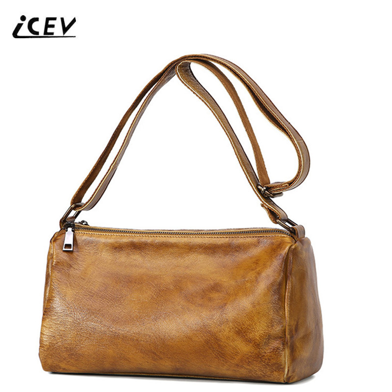 ICEV New Fashion Simple Vintage 100% Genuine Leather Handbags Crossbody Bags for Women Messenger Bags Handbag Women Famous Brand hot sale simple fashion women bags natural soft genuine leather women messenger bags famous brand shoulder bags crossbody bags