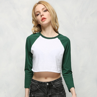 2015 Europe And America Crew Neck Long Sleeve Sexy Crop Tops Womens Colorful Short T Shirt