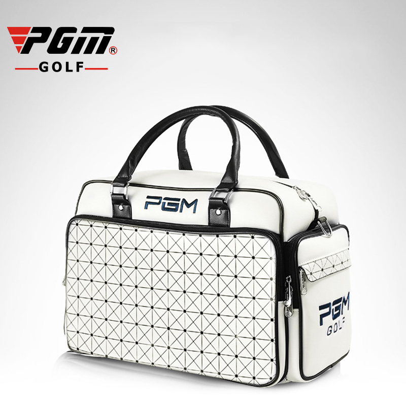 PGM Women's Golf Clothing Bag Waterproof PU Leather High Capacity Wearable Double Layer Brand Golf Shoes Bag For Women Handbag pgm new golf clothing travel bag manmgolf shoes bag package soft pu ball bag large capacity clothes bag black woman