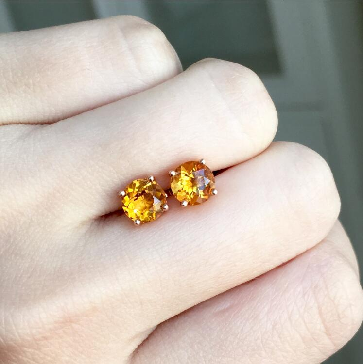 Citrine earring Free shipping Real natural citrine Earring 925 sterling silver 5mm серьги 925 silver earring