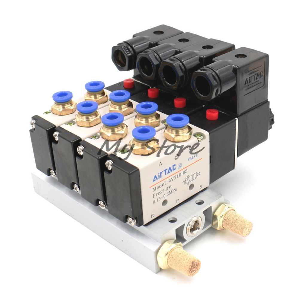 4V210-08 DC12V DC24V AC110V AC220V Single Head 2 Position 5 Way 4 Pneumatic Solenoid Valve with Base