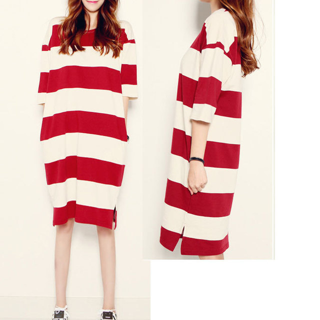 54bdb9065f34dc White Red Striped Women Dresses Simple Big Big Size Women Pregnant Women  Large T-shirt Dresses Cotton