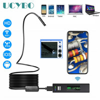 WIFI USB endoscope camera mini flexible 1200P HD 8mm 2.0 Megapixels Inspection Borescope Tube Camera for Smartphone Android
