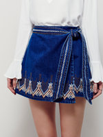 Hot 2016 Denim Miniskirt Bohemian National Embroidery Lacing Bow Trend Skirt