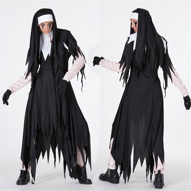 Cosplay The Nun Costume Devil Nude Black Dress Gloves Headwear