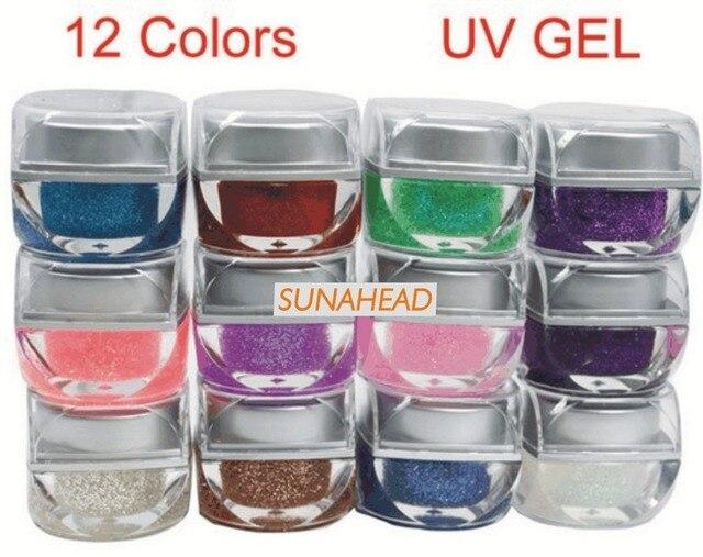 BEMLP Mix 12 Цветов Nail Art Блеск УФ Гель Строителя Акриловые Набор
