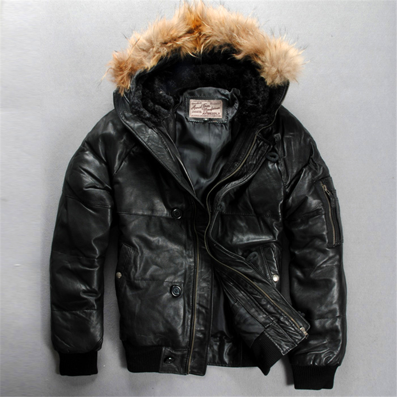 Men's Genuine Sheep Leather Down Jacket Warm Sheep Skin Winter Leather Jacket