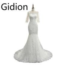 Vestido De Festa white lace mermaid wedding dresses 2017 3 4 sleeve  appliques sheer back 779e6fac0480