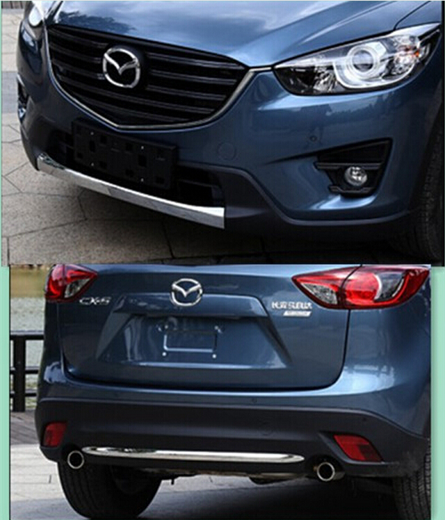 JIOYNG 2PCS Front + Rear Bumper Protector Guard Lid Molding Cover Trim For MAZDA CX-5 CX5 2013 2014 2015 2016 Free shipping