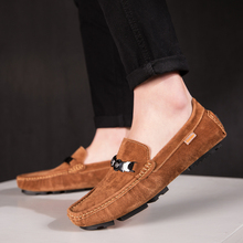 Male Casual Shoes Slip On Shoes Pig Suede Sneakers Men Luxury Italy Drive Shoes Fashion Mens Casual Shoes Khaki Man Loafers suede slip on mens shoes