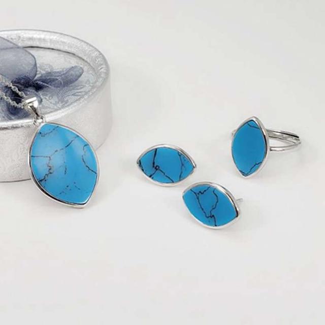 Ensembles de bijoux en pierres précieuses naturelles bleu Turquoise européen 100% collier/boucles d'oreilles/bague en argent Sterling 925 ensemble de bijoux pour femmes YJS025