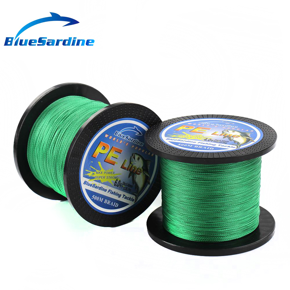 BlueSardine Green Braided Fishing Line 500M Multifilament PE Braid - თევზაობა - ფოტო 4