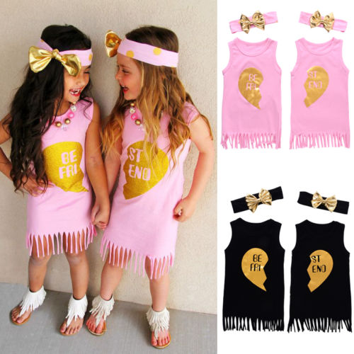2017 Summer Child Kids Dress Sleeveless Tassel Best Friend