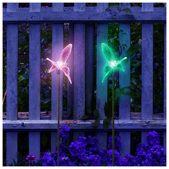 JFBL Hot Solar Powered bird Garden Stake Backyard Color Change Lights (Set of 2)