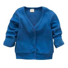 2018 New Baby Children Clothing Boys Girls Candy Color Knitted Cardigan Sweater Kids Spring Autumn Cotton Outer Wear 5 Color(China)