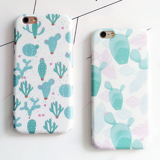 Fashion IMD Cartoon Plants Case For iphone 6 Case For iphone 6S 6 Plus Phone Cases Funny Cactus Pattern Back Cover Capa Fundas